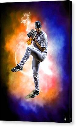 Detroit Tiger Justin Verlander Canvas Print by A And N Art