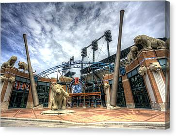 Canvas Print featuring the photograph Detroit Tigers Stadium Entrance by Shawn Everhart