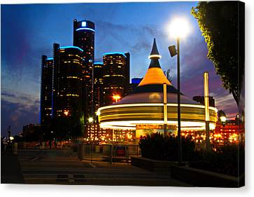 Detroit Waterfront Park Canvas Print by Rexford L Powell
