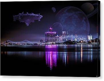 Canvas Print featuring the photograph Detroit Worlds by Nicholas  Grunas
