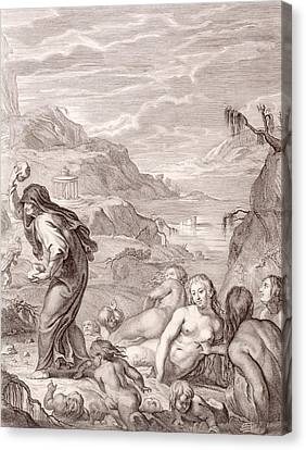 Deucalion And Pyrrha Repeople The World By Throwing Stones Behind Them Canvas Print by Bernard Picart