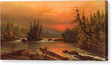 Deux Rivieres Island Portage Canvas Print by Frederick Arthur Verner