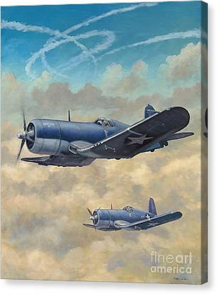 Canvas Print featuring the painting Devil Dog Fight by Stephen Roberson