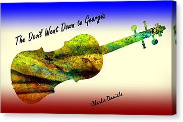 Canvas Print featuring the painting Devil Went Down To Georgia Daniels Fiddle  by David Dehner