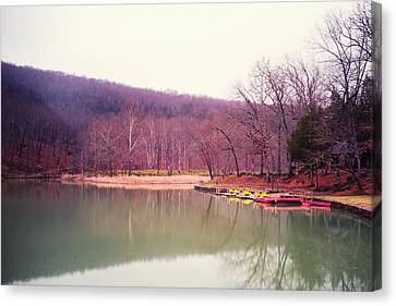Devil's Den Lake And Canoes Canvas Print by Tanya Harrison