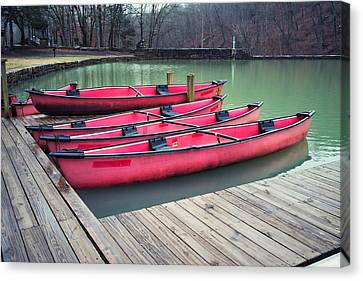 Devil's Den Red Canoes Canvas Print by Tanya Harrison