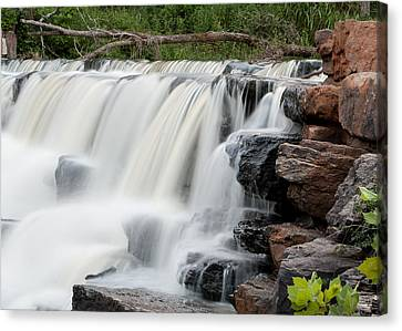 Canvas Print featuring the photograph Devils Den Waterfall by Dawn Romine