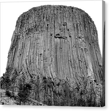 Devils Tower National Monument 3 Bw Canvas Print by Elizabeth Sullivan