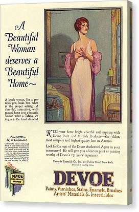 Devoe Varnish 1920s Usa Cc Portraits Canvas Print by The Advertising Archives