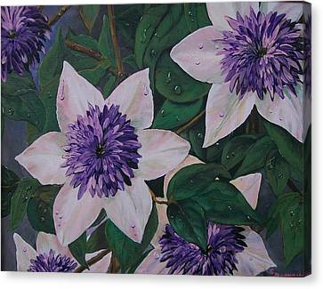 Canvas Print featuring the painting Clematis After The Rain by Sharon Duguay