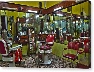 Barberchairs Canvas Print - Df Barbershop by John  Bartosik