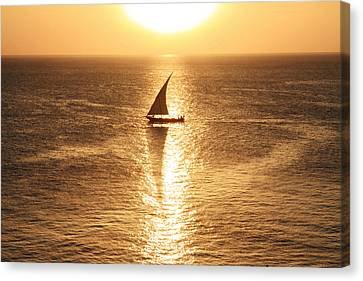 African Dhow At Sunset Canvas Print by Aidan Moran