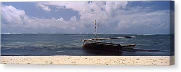 Dhows In The Ocean, Malindi, Coast Canvas Print by Panoramic Images