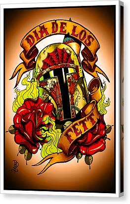 Dia De Los Fett Canvas Print by Brokenpuppet