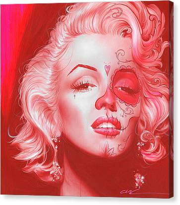 Red Eye Canvas Print - Marilyn Monroe - ' Dia De Los Monroe ' by Christian Chapman Art