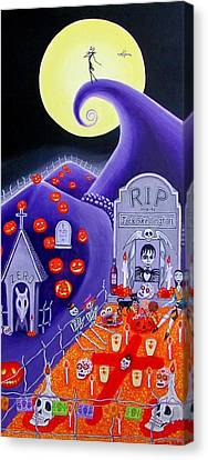 Canvas Print featuring the painting Dia De Los Muertos Jack Skellington by Evangelina Portillo