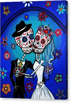 Dia De Los Muertos Kiss The Bride Canvas Print