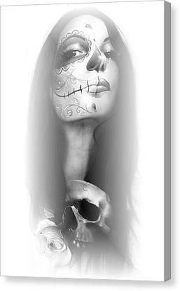 Sugar Skull - ' Dia De Los Muertos Rachel ' Canvas Print by Christian Chapman Art
