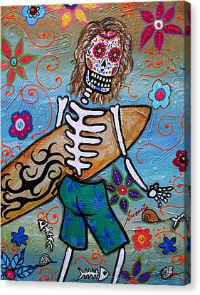 Dia De Los Muertos Surfer Canvas Print by Pristine Cartera Turkus