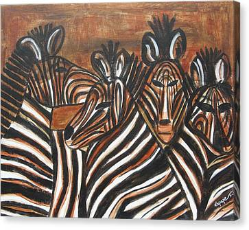 Canvas Print featuring the painting Zebra Bar Crowd by Diane Pape