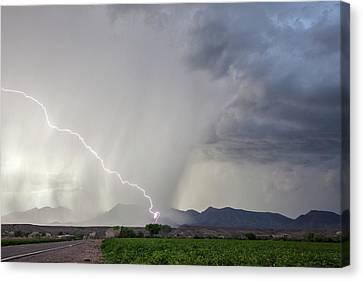 Diagonal Lightning Strike Canvas Print by Roger Hill