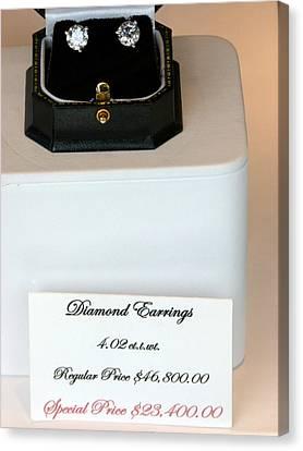 Diamond Earrings On Sale Canvas Print by Jeff Lowe