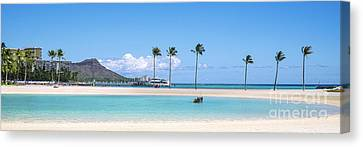 Diamond Head And The Hilton Lagoon 3 To 1 Aspect Ratio Canvas Print