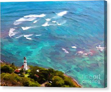 Diamond Head Lighthouse View Canvas Print by Jon Burch Photography