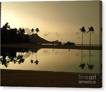 Canvas Print featuring the photograph Diamond Head Reflection by Laura  Wong-Rose