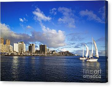 Canvas Print featuring the photograph Diamond Head Sail Boat by Aloha Art