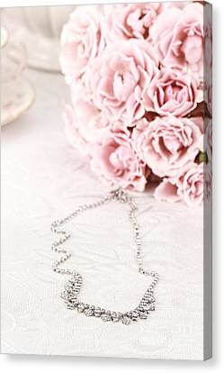 Diamond Necklace And Pink Roses Canvas Print by Stephanie Frey
