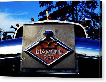 Canvas Print featuring the photograph Diamond Reo Hood Ornament by Bartz Johnson
