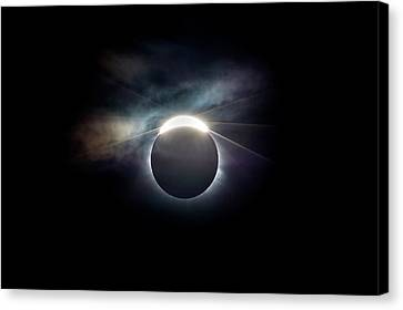 Diamond Ring Effect At Solar Eclipse Canvas Print by Dr Juerg Alean
