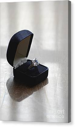 Diamond Ring On A Black Box Canvas Print