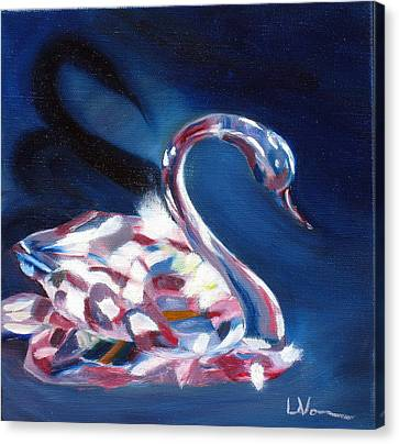 Canvas Print featuring the painting Diamond Swarovski Swan by LaVonne Hand
