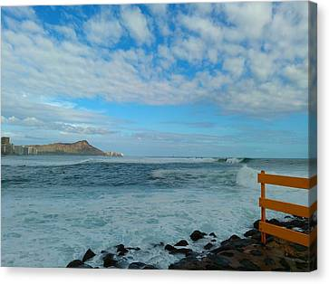 Diamondhead And A Yellow Fence Canvas Print