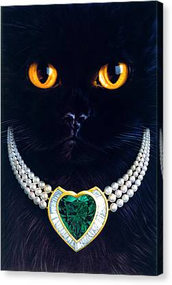 Diamonds Are A Cats Best Friend Canvas Print by Andrew Farley