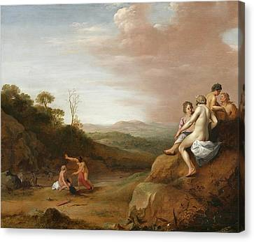 Diana And Her Nymphs With The Discovery Canvas Print by Cornelis van Poelenburgh or Poelenburch