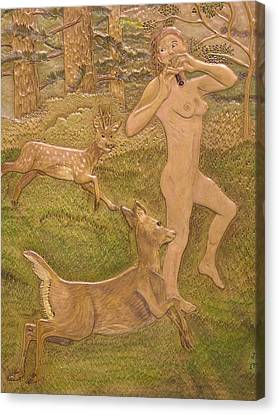 Diana And The Deer Detail Canvas Print by James McGarry Leather Artist