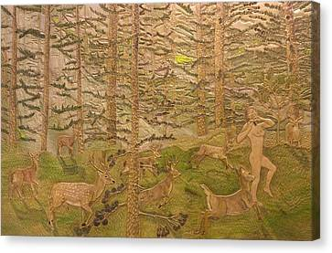 Diana And The Deer Canvas Print by James McGarry Leather Artist