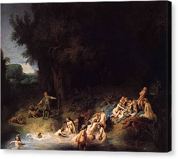 Diana Bathing With Her Nymphs Canvas Print by Rembrandt van Rijn