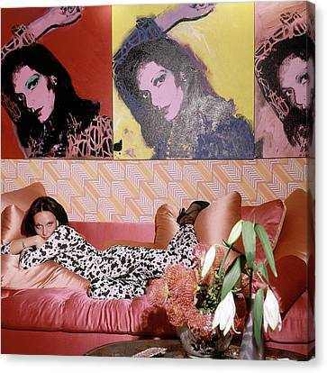 Diane Von Furstenberg In Her New York Living Room Canvas Print
