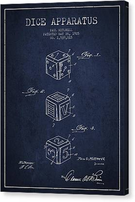Win Canvas Print - Dice Apparatus Patent From 1925 - Navy Blue by Aged Pixel