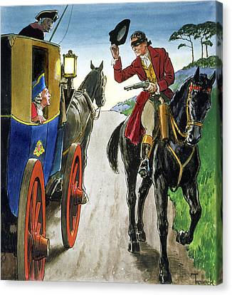 Dick Turpin From Peeps Into The Past Canvas Print by Trelleek