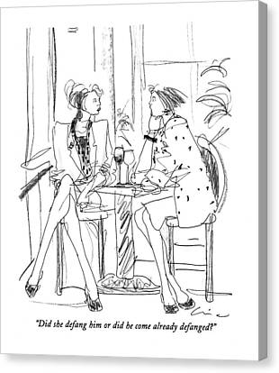 Woman Drinking Canvas Print - Did She Defang Him Or Did He Come by Richard Cline