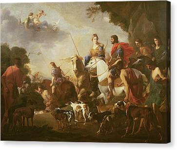 Dido And Aeneas Hunting Oil On Canvas Canvas Print by Jan van Bike Miel