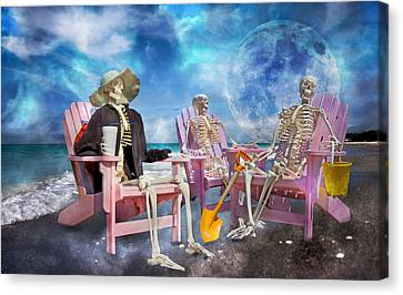 Adirondack Chairs On The Beach Canvas Print - Diehard Beach Bums by Betsy Knapp