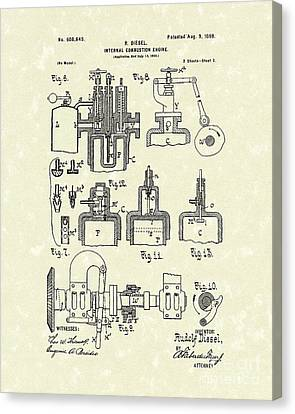 Diesel Engine 1898 Patent Art Canvas Print by Prior Art Design