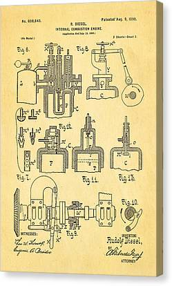 Diesel Internal Combustion Engine Patent Art 1898 Canvas Print by Ian Monk