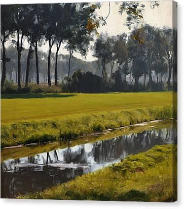 Canvas Print featuring the painting Diessen Baarschot River Landscape by Nop Briex